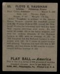 1939 Play Ball #55  Arky Vaughan  Back Thumbnail