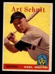 1958 Topps #58 WT Art Schult  Front Thumbnail