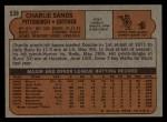 1972 Topps #538   Charlie Sands Back Thumbnail