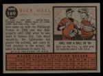 1962 Topps #189 A  Dick Hall Back Thumbnail