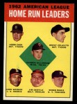 1963 Topps #4  1962 AL Home Run Leaders  -  Harmon Killebrew / Roger Maris / Norm Cash / Rocky Colavito / Jim Gentile / Leon Wagner Front Thumbnail