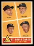 1960 Topps #468  Cardinals Coaches  -  Johnny Keane / Howie Pollet / Ray Katt / Harry Walker Front Thumbnail