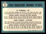 1965 Topps #331   Dodgers Rookie Stars  -  Al Ferrara / John Purdin Back Thumbnail