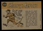 1960 Topps #566  All-Star  -  Hank Aaron Back Thumbnail