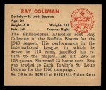 1950 Bowman #250   Ray Coleman Back Thumbnail