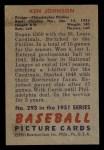 1951 Bowman #293  Ken Johnson  Back Thumbnail