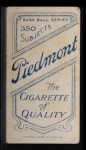 1909 T206 #491  Bob Unglaub  Back Thumbnail