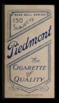 1909 T206 #378  Fred Parent  Back Thumbnail
