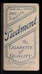 1909 T206 #288  Paddy Livingstone / Misspelled as Livingston  Back Thumbnail