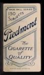 1909 T206 #285  Glen Liebhardt  Back Thumbnail