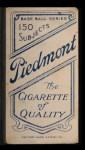 1909 T206 #367 FLD Rube Oldring  Back Thumbnail