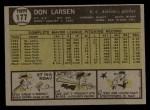 1961 Topps #177   Don Larsen Back Thumbnail