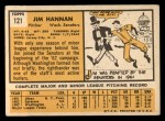 1963 Topps #121 ERR  Jim Hannan Back Thumbnail