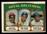 1972 Topps #87  NL RBI Leaders    -  Hank Aaron / Willie Stargell / Joe Torre Front Thumbnail