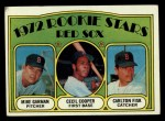1972 Topps #79  Red Sox Rookies  -  Carlton Fisk / Cecil Cooper / Mike Garman Front Thumbnail