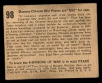 1938 Gum Inc. Horrors of War #98  Dummy Chinese War Planes Are Bait for Japs  Back Thumbnail