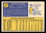 1970 Topps #185  Don Mincher  Back Thumbnail