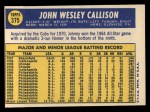 1970 Topps #375   Johnny Callison Back Thumbnail