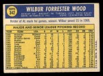 1970 Topps #342  Wilbur Wood  Back Thumbnail