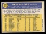 1970 Topps #313  Mayo Smith  Back Thumbnail