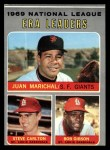 1970 Topps #67  NL ERA Leaders  -  Steve Carlton / Bob Gibson / Juan Marichal Front Thumbnail