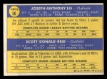 1970 Topps #56  Phillies Rookies  -  Joe Lis / Scott Reid Back Thumbnail