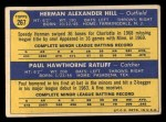 1970 Topps #267  Twins Rookies  -  Herman Hill / Paul Ratliff Back Thumbnail