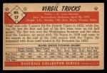 1953 Bowman Black and White #17   Virgil Trucks Back Thumbnail
