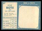 1961 Topps #87   Kyle Rote Back Thumbnail