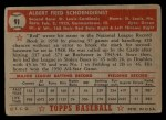 1952 Topps #91   Red Schoendienst Back Thumbnail