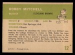 1961 Fleer #12  Bobby Mitchell  Back Thumbnail