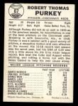 1960 Leaf #67   Bob Purkey Back Thumbnail