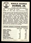1960 Leaf #22  Ryne Duren  Back Thumbnail