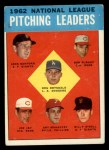1963 Topps #7  NL Pitching Leaders  -  Don Drysdale / Joe Jay / Art Mahaffey / Billy O'Dell / Bob Purkey / Jack Sanford Front Thumbnail