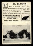 1951 Topps #27   Gil Bartosh Back Thumbnail