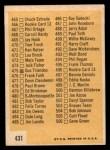 1963 Topps #431 A Checklist 6  Back Thumbnail
