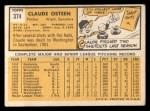 1963 Topps #374   Claude Osteen Back Thumbnail