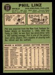 1967 Topps #14   Phil Linz Back Thumbnail