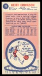 1969 Topps #29  Keith Erickson  Back Thumbnail