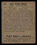 1939 Play Ball #54   Harry Gumbert Back Thumbnail