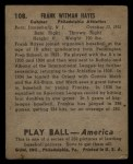 1939 Play Ball #108   Frank 'Blimp' Hayes Back Thumbnail