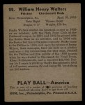 1939 Play Ball #22   Bucky Walters Back Thumbnail