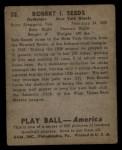 1939 Play Ball #32  Bob Seeds  Back Thumbnail