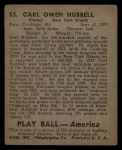 1939 Play Ball #53  Carl Hubbell  Back Thumbnail