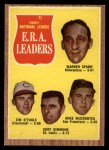 1962 Topps #56  1961 NL ERA Leaders  -  Warren Spahn / Jim O'Toole / Curt Simmons / Mike McCormick Front Thumbnail