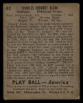 1939 Play Ball #82  Chuck Klein  Back Thumbnail