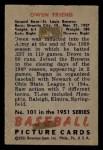 1951 Bowman #101  Owen Friend  Back Thumbnail