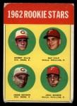 1963 Topps #29 *BLU*  -  Sammy Ellis / Ray Culp / John Boozer / Jesse Gonder 1962 Rookies Front Thumbnail