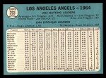 1965 Topps #293   Angels Team Back Thumbnail