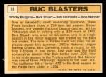 1963 Topps #18   -  Smoky Burgess / Dick Stuart / Roberto Clemente / Bob Skinner Buc Blasters   Back Thumbnail